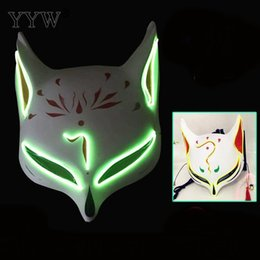 glowing led costume Australia - Led Mask Mascara Led Glow Fox Mask Halloween Party Carnival Mask Printed Masker Night Ghost Dance Show Props Fancy Dress Costume