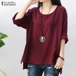 a6bf83f1fb5 wholesale 2019 Womens Retro O Neck Long Sleeve Split Baggy Cotton Linen  Casual Loose Solid Party Tops Kaftan Shirt Blouse Plus