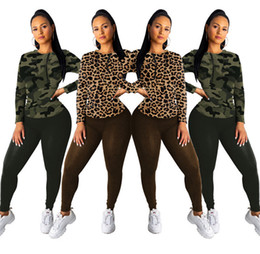 Camouflage bodysuit online shopping - Women piece set fall winter clothes Camouflage gym tracksuit sweatshirt pants sportswear hoodies leggings outfits pullover bodysuit