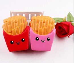 Fry cartoon online shopping - New squishy simulation fries fine packaging cartoon Pu food model soft slow rebound Soft Scented Bread Cake Squishy Stretch Kid Toy