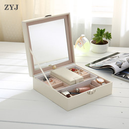 Box Jewelry Storage Organizer Black Australia - ZYJ Luxury Jewelry Storage Box Removable Cosmetic Case Makeup Bag Travel Suitcase With Mirror Organizer Container Package