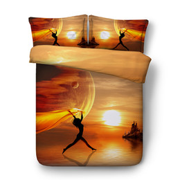 $enCountryForm.capitalKeyWord Australia - Orange Bedspread Sunset Bed Cover Ocean Beach Bedding Girls Comforter Cover 3pc 1 Womens Coverlet 2 Yellow Pillow Shams NO Quilt Teens Duvet