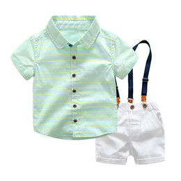 Boys Summer Suits For Wedding Australia - Boys summer clothes sets kids fashion gentleman wedding tops+bib pants 2pcs clothing for baby boys children overalls outfits suits