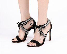 $enCountryForm.capitalKeyWord Australia - Diamond Crystal Embellished Fringed Suede Gladiator Sandals Women Ankle Tie Stiletto High Heels 10cm Women party shoes sandals