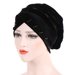 cotton winter scarves UK - Muslim Strech Solid Velvet Ruffle Cross Bead Chemo Turban Headwear Scarf Beanie Caps Hat for Cancer Patient Hair Loss accessories