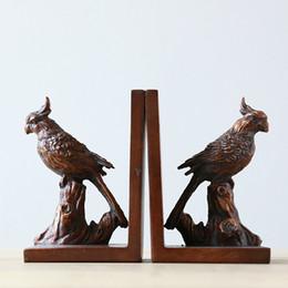 Bird Blocks Australia - American country home decorative arts crafts book stand bird parrot resin book block ornaments