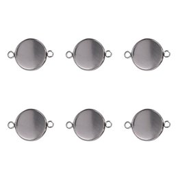 Chinese  10pcs Silver Round Glass Cabochon Blank Pendant Base Gem Settings Tray Fit 6 8 10 12 14 16 25mm DIY Bracelet Necklaces Findings manufacturers