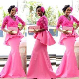 Royal Dresses Trumpet Australia - African Half Sleeve Mermaid Long Prom Dresses 2019 Plus Size V-neck Full Back Lace Stain Peplum Nigeria Trumpet Evening Formal Gown