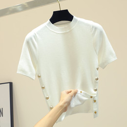 46b829b0fc84 Ice Silk Knitted Short Sleeve T-shirt Female 2019 Spring Summer New  Slimming Thin Metal Buckle Short T-shirt Croop Top Women