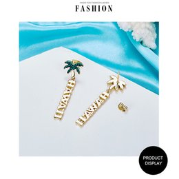 coconut earrings UK - 14K gold plating jewerly set coconut tree earings and necklace from beach party ,weddig party ,birthday party