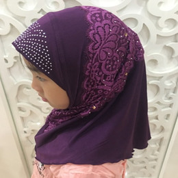 lace hijab scarves 2019 - H1315 beautiful soft small girl muslim hijab with lace on hat muslim scarf girls headwrap discount lace hijab scarves
