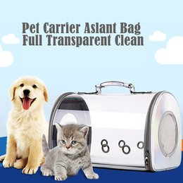 $enCountryForm.capitalKeyWord Australia - Full Transparent Pet Carrier Aslant Dog Bag Travel Dog Carrier PU Leather Pet Handbag for Outdoor Hiking Camping Accessories
