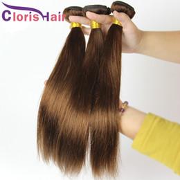 clearance brazilian human hair 2019 - Raw Virgin Indian Silky Straight Hair Weave Bundles Cheap Dark Brown Sew In Human Hair Extensions Colored #4 Straight We
