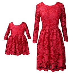 plus size mother daughter dresses UK - Mom Daughter Lace Dresses Kids Girls Dress Women Plus Size Dress Mother Girls Flower Party Dress 2020 Red Family Match Outfits Clothing