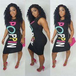 Sexy lace clubwear dreSSeS online shopping - Summer POPPIN Letters Print Dresses Women Black Sexy Silm Sleeveless O Neck Knee Length Bodycon Vest Dress Clubwear S XXL C41705