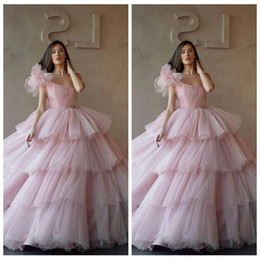 Classic Cupcakes Australia - One Shoulder Ball Gowns Tulle Tiered Quinceanera Dresses 2019 Cupcake Formal Long Prom Dresses Sweet 16 Age Vestidos De Quinceanera