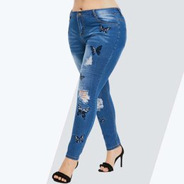 5e90005ef2f Rosegal Plus Size Butterfly Distressed Embroidered Jeans Women Pant Skinny  High Waist Pencil Pants Denim Jean Ladies Trousers Q1904024