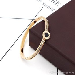$enCountryForm.capitalKeyWord Australia - Hotstone88 PB59 new style super flash black round cake with stones exquisite gold plate bangle for gift free shipping