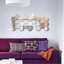 sticker sheets for kids Canada - Hexagon Mirror Art DIY Home Decorative Hexagonal Acrylic Wall Sheet Plastic Tiles Home Living Room Bedroom Sofa TV Background
