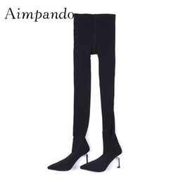 d9f6dc29962a 2019 Sexy Knit Pants Thigh high Boots Woman Pointed Toe Strange High Heel  Shoes Women Stretch Eslastic Sock Boots