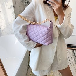 candy bag shoulder strap UK - Women Leather Bag 2020 New Candy Color Chain Shoulder Bag Chain Strap Crossbody Bags Lady Purse Women Hand