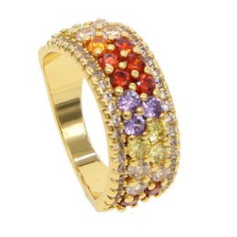 $enCountryForm.capitalKeyWord NZ - 2019 fashion jewelry rainbow round champagne cz engagement ring for women male colorful cubic zirconia gold eternity band rings