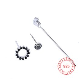 f2e2981b6 New Trendy Black CZ Korean long style pendant earring fashionable circle  simple 925 sterling silver earring for women