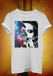 Discount girls skull t shirt - Sexy Skull Girl Galaxy Space Hipster Men Women Unisex T Shirt Tank Top Vest 730 summer o neck tee custom printed tshirt