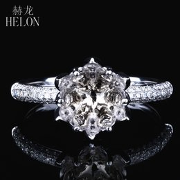 14k diamond cluster ring Australia - HELON Round Cut 7-8mm Solid 14K White Gold 0.39ct Natural Diamonds Exquisite Flower Semi Mount Wedding Women Trendy Jewelry Ring