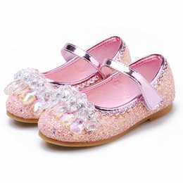 flower girl dresses glitter UK - New Princess Kids Leather Shoes for Girls Flower Casual Glitter Children Flat soft Girls Sandals Dance Dress Party Wedding shoes