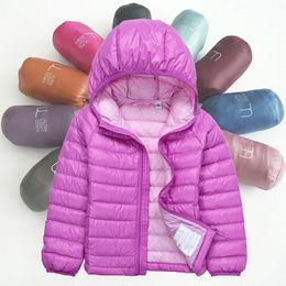 Autumn girls pink jAcket online shopping - Kids Boys Down Coat Design Solid Teens Down Jacket Kids Designer Clothes Girls Winter Outwear Casual Pocket Jacket