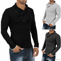 Fashion T Shirt Long Collar Australia - New Men T-shirt Top Slant Button Collar Long Sleeve Tee Solid Color Slim Fit Hip-Hop Top Tees Fashion Men Clothing