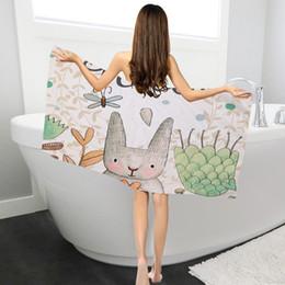 $enCountryForm.capitalKeyWord Australia - New Cartoon Rabbit Pattern Towel Soft Women Beach Towel Superfine Fiber Long Beach Towel Sport Swimming Towels Travel Sunproof Shawl