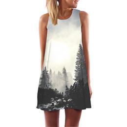 b6f5ab1dab Casual Foggy Forest Tree Print Women Tank Dress Ladies Feather Elegant  Graceful Beach Dresses Robe Femme Mini Vestidos Dropship