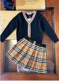 $enCountryForm.capitalKeyWord Australia - newest kid clothing set black white classical designer sweater + pants dresses brand cheap autumn warm fashion clothes for little girl boy