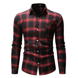 Spliced Shirt Australia - 2019 New Camisa Masculina Men Splicing Lattice Chequered Long Sleeve Shirt Fashion Long Sleeve Blouse Top Camisa Hombre