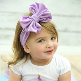 Headbands Bow Australia - new elastic lace baby girl headbands hot big bow hair bands for girls childrens elastic headwrap for girls in 9 colors cheapest