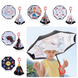 umbrella children cartoon NZ - Reverse Umbrellas Double Layer Inverted Umbrella Reflective Safe Kids Umbrellas Cartoon Animal Umbrella Children Gift 9 Designs YW3790