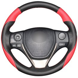 China Black Red Natural Leather Car Steering Wheel Cover for Toyota RAV4 2013-2017 Corolla 2014-2017 Auris 2013-2016 Scion iM 2016 cheap toyota leather steering wheel suppliers