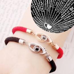 $enCountryForm.capitalKeyWord NZ - Women 100 Language I Love You Memory Chain Stainless Steel Rose Gold Roman Numerals Eyes Crystal Fashion Charm Bracelet Jewelry