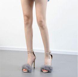 $enCountryForm.capitalKeyWord Australia - 2019 summer Real rabbit hair shoes serpentine black high heels fine heels wedding valentine shoes bride pointy bridesmaid single shoes
