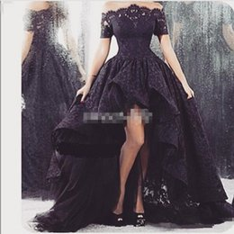 Short Red Lace Prom Vintage Dress Australia - Black Lace High Low Prom Dresses With Short Sleeve Off Shoulder Ruffle Sheer Neck Tulle Vintage Party Gowns 2019 Formal Dress Evening Wear