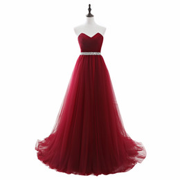 Sequin Belts Cheap NZ - Cheap Long Tulle Burgundy Prom Dresses with Sequin Beaded Belt Strapless Corset Evening Gowns Lace up Back Senior Formal Party Dress