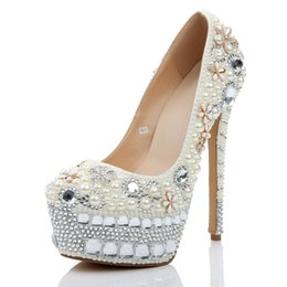 eee87ab0a2 Shop White Crystal High Heels Platform Pumps UK | White Crystal High ...