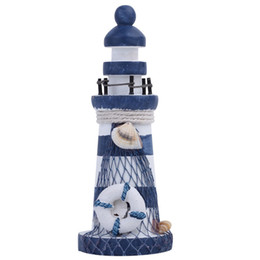Chinese  Nautical Wood Wooden Lighthouse Beacon Tower Beach Starfish Shell Home Room Bedroom DIY Decorative Crafts Ornament Gift manufacturers