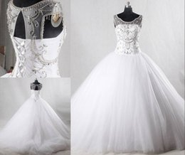 sheer crystals gowns Australia - 2019 Luxury Crystals Beaded Ball Gowns Wedding Dresses Rhinestones Lace-up Back White Wedding Gown Sheer Neck Vestidos De Novia Real Picture