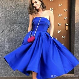 $enCountryForm.capitalKeyWord Australia - Light Gold Royal Blue Fashion Cocktail Party Dresses 2019 Simple Puffy Tea Length Homecoming Dresses Cheap Prom Gowns Plus Size