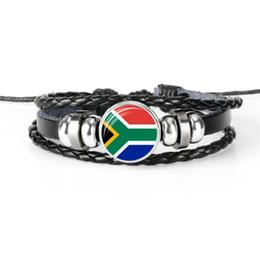 $enCountryForm.capitalKeyWord Australia - Hot Genuine Leather Rope Beaded Bracelets Men Women Time Gem Glass Dome South Africa National Flag World Cup Football Fan Charm Cuff Jewelry