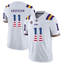 College Football Flags Australia - Mens Custom Dee Anderson Football Jersey LSU Tigers USA Flag Fashion High Quality Stitched College American Football Jerseys