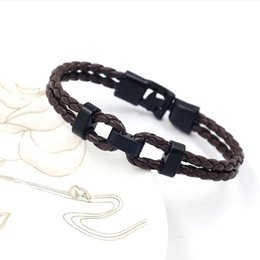 Wholesale Fashion Hand woven Jewelry Bracelet Multilayer Leather Braided Rope Wristband For Men Brown Black Leather Bracelet